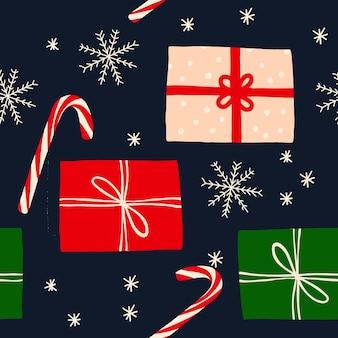 Ręcznie rysowane boże narodzenie bezszwowe wzór z pudełko prezentowe cukierki z kokardą płatki śniegu