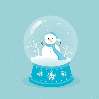 Ręcznie rysowane boże narodzenie glob śnieżki