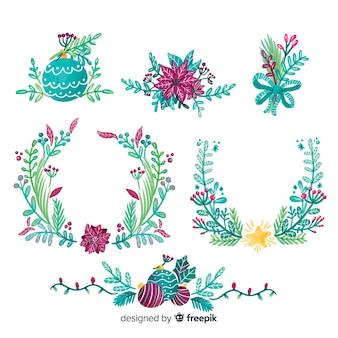 Ręcznie rysowane boże narodzenie kolekcji kwiatów i wieniec