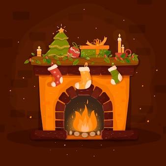Ręcznie rysowane boże narodzenie kominek sceny