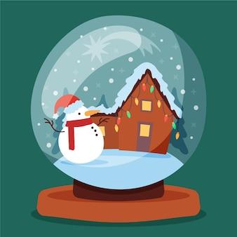 Ręcznie rysowane boże narodzenie śnieżka glob z domu