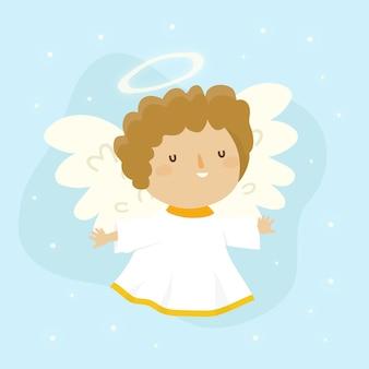Ręcznie rysowane boże narodzenie urocza anioł