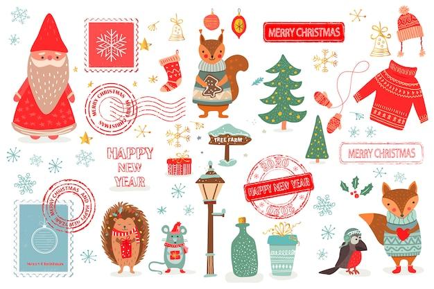 Ręcznie rysowane boże narodzenie w stylu cartoon. śmieszna kartka z uroczymi zwierzętami i innymi elementami: lisem, myszką, wiewiórką, hetchogiem, mikołajem, choinką, znaczkami pocztowymi. ilustracja