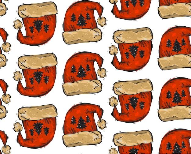 Ręcznie rysowane boże narodzenie wzór z czerwonych czapek świętego mikołaja i choinek