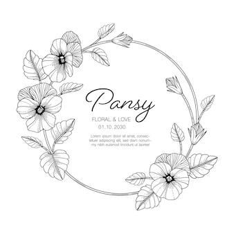 Ręcznie rysowane bratek ilustracja z życzeniami kwiatowy z grafiką na białym tle.
