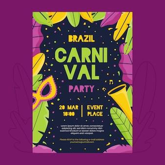Ręcznie rysowane brazylijski karnawał plakat