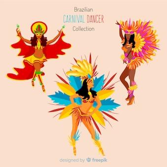 Ręcznie rysowane brazylijski karnawał tancerz zestaw