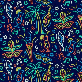 Ręcznie rysowane brazylijski karnawał wzór