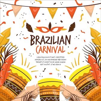 Ręcznie rysowane brazylijski karnawał z bębnami