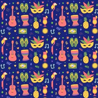 Ręcznie rysowane brazylijski kolorowy karnawał wzór
