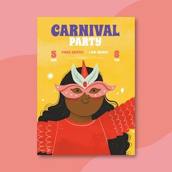 Ręcznie rysowane brazylijski plakat karnawałowy
