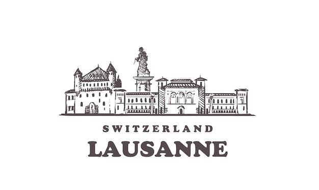 Ręcznie rysowane budynki w lozannie, szwajcaria