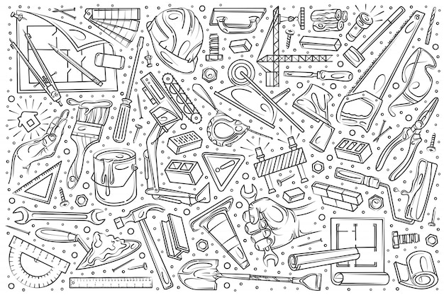Ręcznie rysowane budynku i konstrukcji zestaw bazgroły