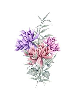 Ręcznie rysowane bukiet kwiatów dla karty z pozdrowieniami