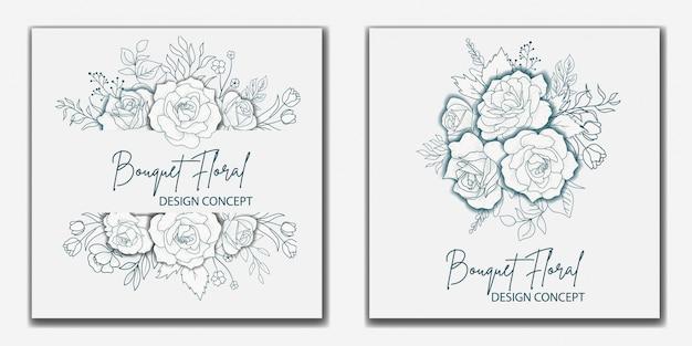 Ręcznie rysowane bukiet kwiatowy wesele projekt karty