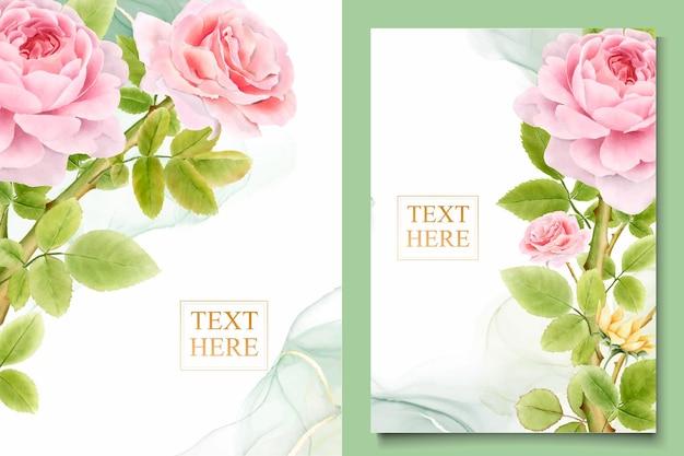 Ręcznie rysowane bukiety róż akwarela