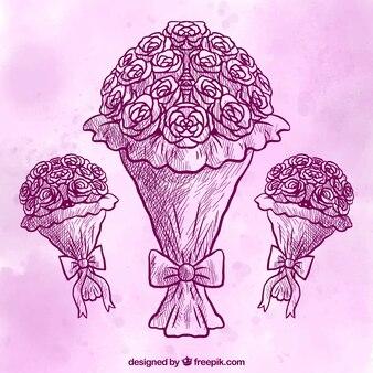 Ręcznie rysowane bukiety z purpurowym tle