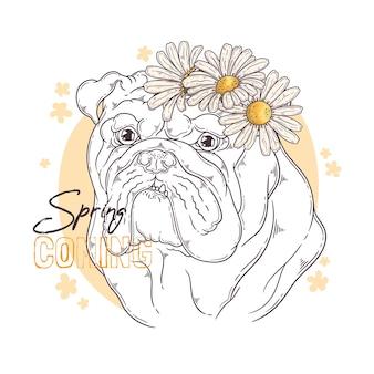 Ręcznie Rysowane Buldog Z Kwiatami Premium Wektorów