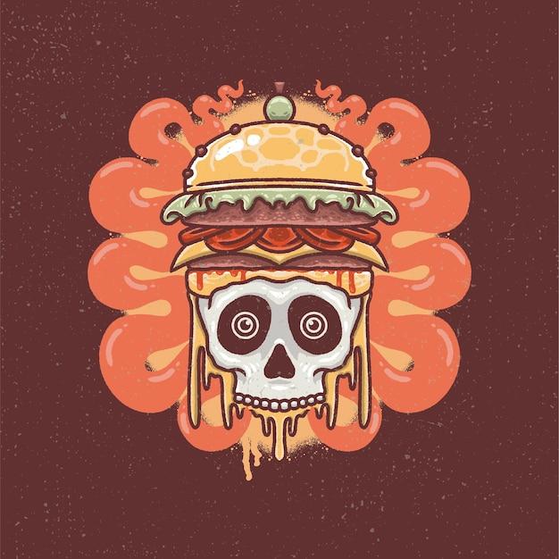 Ręcznie rysowane burger czaszki i sera w stylu tatuażu starej szkoły.