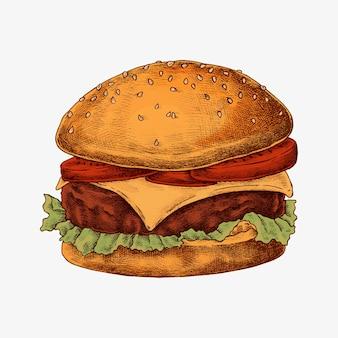 Ręcznie rysowane burger serowy