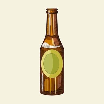 Ręcznie rysowane butelka piwa na białym tle na jasnym tle. szablon butelki jasnego piwa. grawerowany styl vintage. do menu pubowego, kartek, plakatów, nadruków, opakowań. vintage ilustracji wektorowych