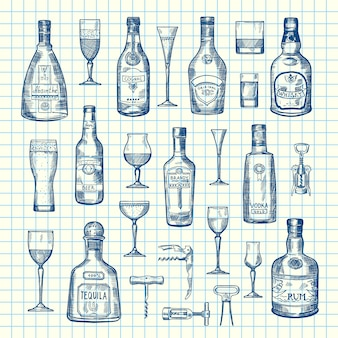 Ręcznie rysowane butelki napoju alkoholowego i szklanki zestaw na arkuszu komórki