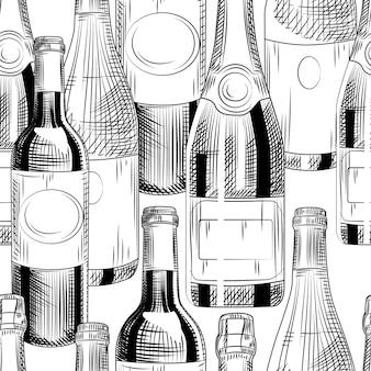 Ręcznie rysowane butelki wina wzór na białym tle. różne tło wina. styl grawerowania. ilustracja wektorowa