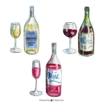 Ręcznie rysowane butelki wina