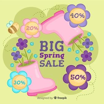 Ręcznie rysowane buty wiosna sprzedaż tło
