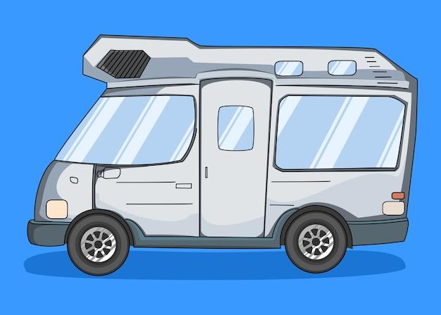 Ręcznie rysowane camper van na białym tle