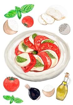 Ręcznie rysowane caprese sałatka akwarela stylu