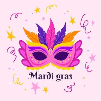 Ręcznie rysowane celebracja mardi gras