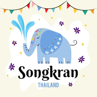 Ręcznie rysowane celebracja songkran