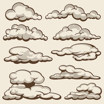 Ręcznie rysowane chmury w stylu vintage zestaw