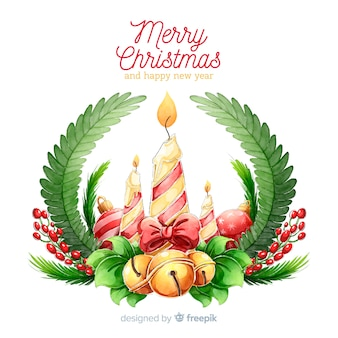 Ręcznie rysowane christmas candle ornament tle