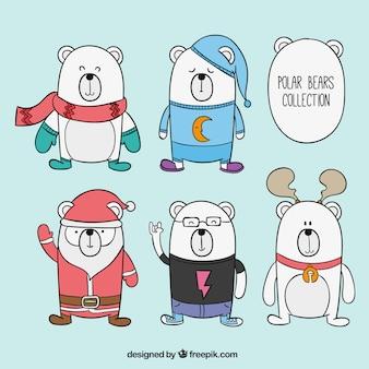 Ręcznie rysowane christmas niedźwiedzie