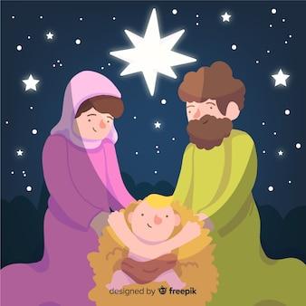 Ręcznie rysowane christmas szopka