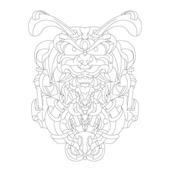 Ręcznie rysowane chrząszcz robota na białym tle