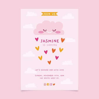 Ręcznie rysowane chuva de amor zaproszenie na baby shower