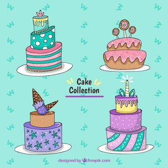 Ręcznie rysowane ciasta urodzinowe