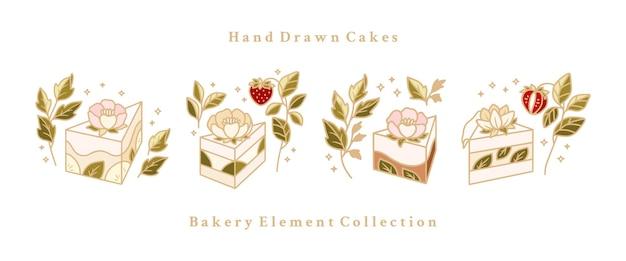 Ręcznie rysowane ciasto, ciasto, kolekcja elementów logo piekarni na białym tle
