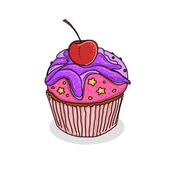 Ręcznie rysowane ciasto kubek ilustracja