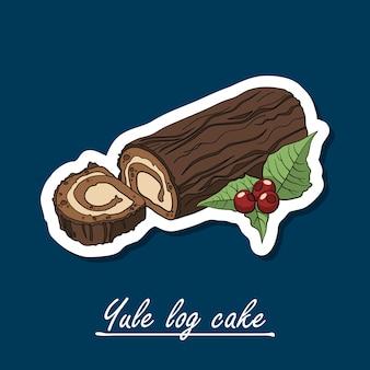 Ręcznie rysowane ciasto logo yule. kolorowa ilustracja deser.