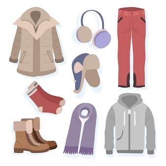 Ręcznie rysowane ciepłe zimowe ubrania