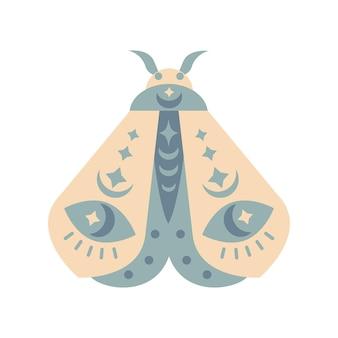 Ręcznie rysowane ćma kolor na białym tle. ilustracja wektorowa motyl boho. tajemnicze symbole. projekt na urodziny, imprezę, nadruki na ubrania, kartki okolicznościowe.