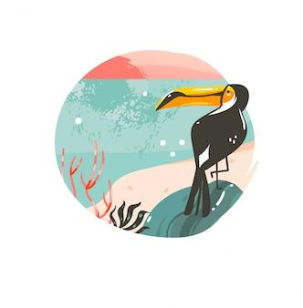 Ręcznie rysowane coon czas letni ilustracje szablon tło odznaka z krajobrazem plaży oceanu, różowy zachód słońca i piękny ptak tukan z miejscem na kopię tekstu