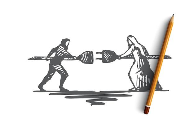Ręcznie rysowane coworking partnerów biznesowych w synergii razem szkic koncepcyjny