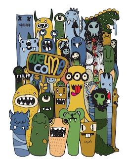 Ręcznie rysowane crazy doodle monster city