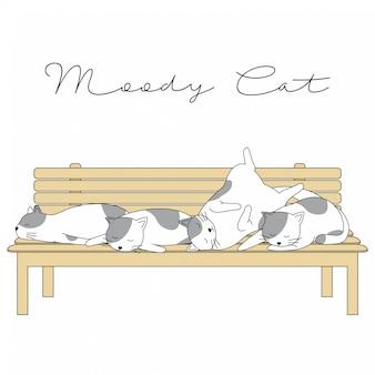 Ręcznie rysowane cute animals cartoon moody cat