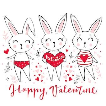 Ręcznie rysowane cute bunny girl. śmieszne doodle zwierząt.
